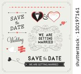 set of wedding ornaments and... | Shutterstock .eps vector #130197161