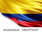 colombia flag of silk 3d... | Shutterstock . vector #1301974237