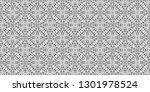 seamless black and white... | Shutterstock . vector #1301978524