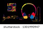 headphone silhouette with music ... | Shutterstock .eps vector #1301990947