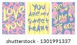 set of 3 valentine's day... | Shutterstock .eps vector #1301991337