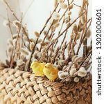 easter chickens and willow.... | Shutterstock . vector #1302000601