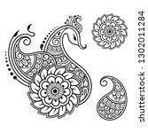 set of mehndi flower pattern... | Shutterstock .eps vector #1302011284