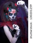 santa muerte. young woman with... | Shutterstock . vector #130201259