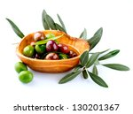 Olives And Olive Oil. Isolated...
