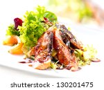 salad with smoked eel with... | Shutterstock . vector #130201475