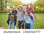 friends have fun playing in the ... | Shutterstock . vector #1302016777