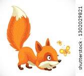 cute little fox hunts butterfly ... | Shutterstock .eps vector #1302029821