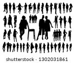 women and man black silhouettes | Shutterstock .eps vector #1302031861