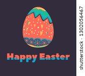 easter egg hand drawn paint....   Shutterstock .eps vector #1302056467