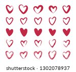 red heart set. vector | Shutterstock .eps vector #1302078937