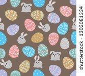 white rabbit sitting among... | Shutterstock .eps vector #1302081334
