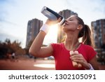 beautiful fitness athlete woman ... | Shutterstock . vector #1302105091