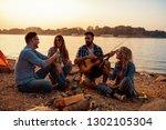 group of people having fun on... | Shutterstock . vector #1302105304