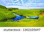 summer green river boat scene....   Shutterstock . vector #1302105697