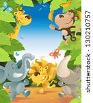 Stock vector fun jungle animals border 130210757