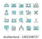 simple set of blueprint related ... | Shutterstock .eps vector #1302108727