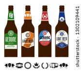 beer labels on brown glass... | Shutterstock .eps vector #1302109441