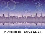 seamless cityscape with... | Shutterstock .eps vector #1302112714