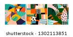 set of three abstract... | Shutterstock .eps vector #1302113851