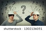 confused man and woman engineer ... | Shutterstock . vector #1302136051