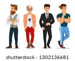 attractive young men in... | Shutterstock .eps vector #1302136681
