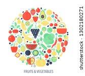 fruits vegetables flat... | Shutterstock . vector #1302180271