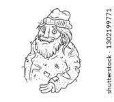 black and white homeless man... | Shutterstock .eps vector #1302199771