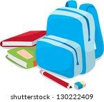 bag and school book for kids... | Shutterstock .eps vector #130222409