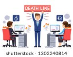 the boss check working on time... | Shutterstock .eps vector #1302240814