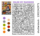 color by number  education game ... | Shutterstock .eps vector #1302242971