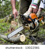 workers with chainsaw in the... | Shutterstock . vector #13022581