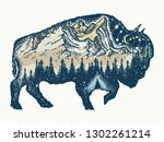 buffalo bull tattoo and t shirt ... | Shutterstock .eps vector #1302261214