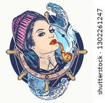 woman sailor tattoo and t shirt ... | Shutterstock .eps vector #1302261247