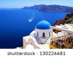 blue dome church with boat  oia ... | Shutterstock . vector #130226681