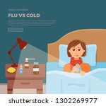 sick girl in bed with the... | Shutterstock .eps vector #1302269977
