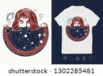 girl and space  goodnes woman... | Shutterstock .eps vector #1302285481