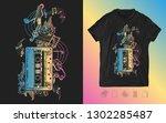 audio cassette  guitar and...   Shutterstock .eps vector #1302285487