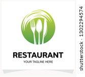 restaurant logo design template ... | Shutterstock .eps vector #1302294574