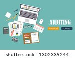 auditing concept vector... | Shutterstock .eps vector #1302339244