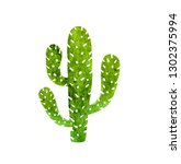 cactus isolated on a white... | Shutterstock . vector #1302375994
