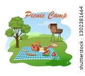 picnic camp cartoon vector... | Shutterstock .eps vector #1302381664