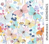 fashion floral pattern with... | Shutterstock .eps vector #1302403621