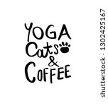 yoga cats and coffee concept  ... | Shutterstock .eps vector #1302425167