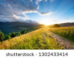 road in the mountains. grass... | Shutterstock . vector #1302433414