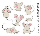 cute hand drawn mice with...   Shutterstock .eps vector #1302455854