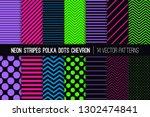 glowing neon vector patterns in ... | Shutterstock .eps vector #1302474841