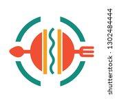 burger logo  spoon and fork...   Shutterstock .eps vector #1302484444