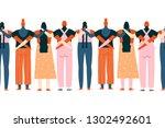 protesting women staring... | Shutterstock .eps vector #1302492601