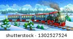 locomotive in the snow forest.... | Shutterstock .eps vector #1302527524